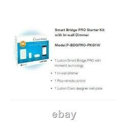 LUTRON P-BDGPRO-PKG1W White Caseta Wireless Dimmer Kit with Smart Bridge New N Box