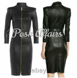 Lambskin Leather Dress Black Golden Zipper Dress Mid Length Slim Fit Sexy Outfit