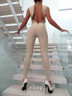 Luxus Kleid Hose Catsuit Gold Overall Damen Jumpsuit R85 Shaping Dress Outfit S