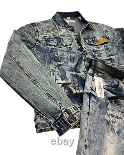 Men 2-PC Biker Casual Jeans Outfit Hip Hop Jacket+Ripped Stretch Denim Pants Set