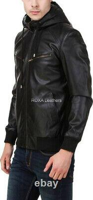Men Outfit Authentic Lambskin Real Leather Black Jacket Hooded Casual Biker Coat