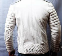 Men's 100% Genuine Lambskin Leather Jacket Biker Motorcycle WHITE Leather Outfit