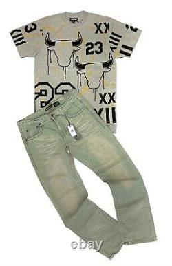 Men's 2PC The 23 Bull Casual Outfit Ripped Graphic Shirt+Denim Jeans Pants Set
