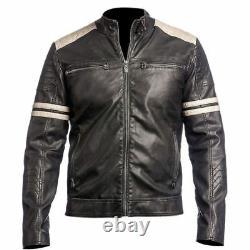 Men's Biker Jacket 100% Genuine Lambskin Leather Black Motorcycle Rider Outfit