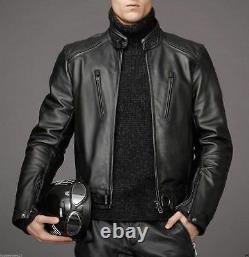 Men's Black Biker Motorcycle Genuine Lambskin Leather Jacket Vintage Outfit Men