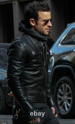Men's Black Outfit Dashing Fashionable Lambskin Leather Jacket ZZ10