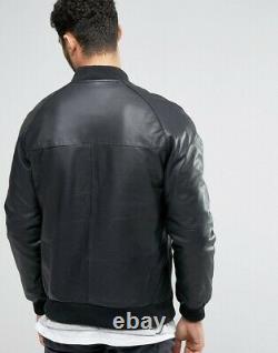 Men's Bomber Biker Motorcycle Leather Jacket Black Genuine Lambskin Slim Outfit