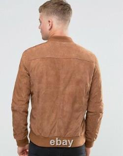 Men's Bomber Leather Jacket 100% Real Suede Leather Tan Biker Slim Fit Outfit