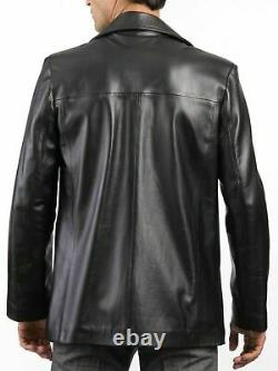 Men's Genuine Leather Blazer Soft Lambskin Real Leather Black Jacket New Outfit