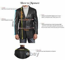 Men's Genuine Soft Lambskin Leather Blazer Jacket Tan TWO BUTTON Men Outfit Coat