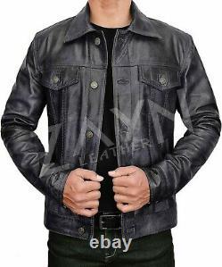 Men's Pure Lambskin Soft Leather Trucker Jacket Western Denim Levis Style Outfit