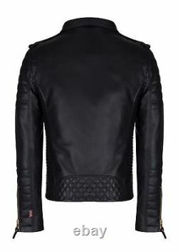 Men's Real Lambskin Leather Jacket Biker Motorcycle Style Slim Fit Black Outfit