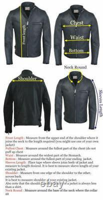 Men's Real Lambskin Leather Jacket Black Biker Motorcycle Classic Jacket Outfit