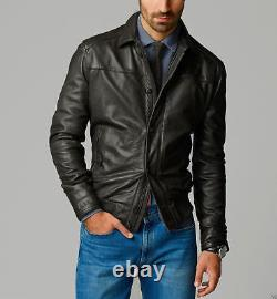 Men's Real Leather Jacket Black Biker Motorcycle Genuine Lambskin Leather Outfit