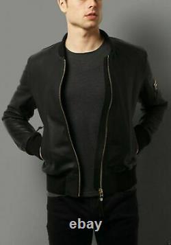 Men's Real Leather Jacket Black Bomber Biker Motorcycle Genuine Lambskin Outfit