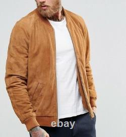 Men's Real Suede Leather Jacket TAN Bomber Biker Flight Authentic Jacket Outfit