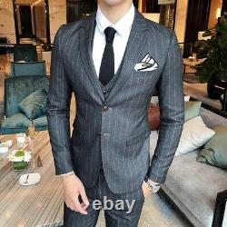 Men's Striped Suits 3PCS Business Tuxedo Formal Dress British style Outfit New L