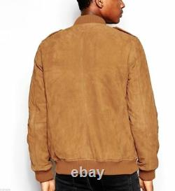 Men's Suede Leather Jacket Bomber Biker Classic Vintage Tan Authentic Men Outfit