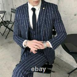 Mens Tuxedo Outfit British style 3Pcs Suit Business Wedding Party Dress Slim New