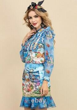 Multicolor blue chic runway baroque angel shirt blouse skirt outfit suit set 2