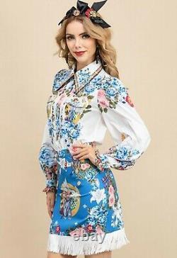 Multicolor blue chic runway baroque floral shirt blouse skirt outfit suit set