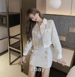 Multicolor shimmer gold blue white tweed skirt jacket blazer suit set outfit lux