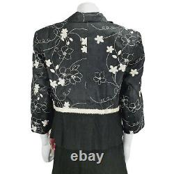 NEW Fee G Black Floral Embroidered Jacket Skirt Outfit Sz 16 Linen Blend