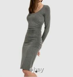 NEW Kit & Ace Emory Brushed Long Sleeve Dress Sz 10 Gray Side Ruching Cashmere