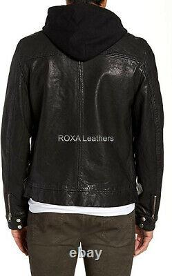 NEW Patent Men Authentic Sheepskin Pure Leather Black Hooded Outfit Biker Jacket