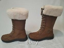 NEW UGG W ADIRONDACK III TALL Chestnut Boots Size 8 Wool Waterproof With Care Kit
