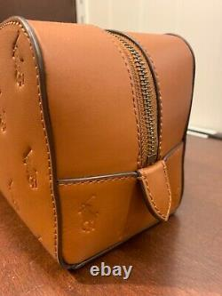 NWT Polo Ralph Lauren CAMEL BROWN Leather EMBOSSED PONY Toiletry Bag Dopp Kit