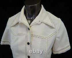 NWT Route One Polyester Mid Century Womens Pant Suit Outfit White Misses Size 14