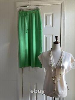 NWT St John 3 Piece Green/YellowithWhite Knit Skirt & Tops Outfit Size L