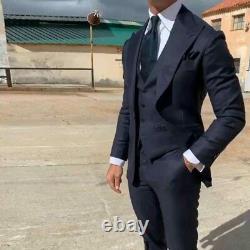 Navy Blue Men Suit for Business Wedding Groom Tuxedo Wide Lapel Groomsmen Outfit