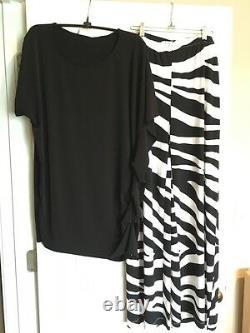 New 2-pc Set Chico's Knit Kit Black White Zebra Palazzo Pants Top 3 XL 16 18 NWT