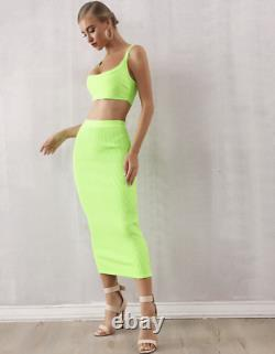 New Designer Couture Bright Lime Green Bandage Set Co-ord Skirt & Top Set Outfit