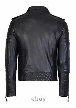 New Men's Genuine Lambskin Leather Jacket Black Biker Motorcycle Trendy Outfit