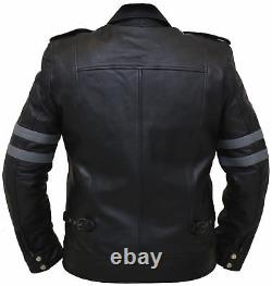 New Men's Real Soft Lambskin Leather Jacket Biker Motorcycle Black Racer Outfit