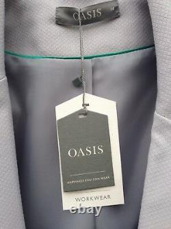 New Oasis Toilered Suit Skirt Jacket Smart Outfit Highwaist Grey Pale Blue 14