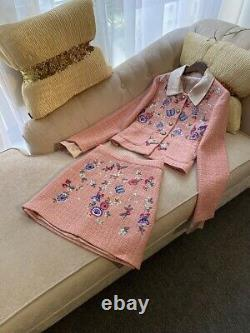 Peach pink embroidered twill tweed pearl skirt jacket blazer jacket suit outfit