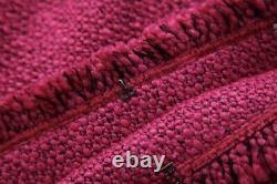Pink fuchsia black tweed fringed fringe skirt blazer jacket suit outfit set 2 pc