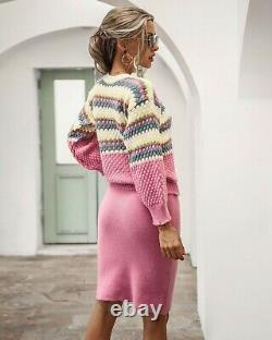 Pink sweater jumper skirt knit knitted stretch suit set outfit suit 2 pc chic