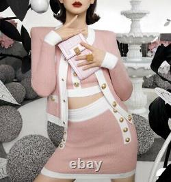 Pink white knit gold button skirt top cardigan jacket set suit outfit 3 pc
