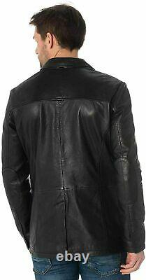 Real Leather Jacket Blazer Men's Genuine Lambskin Soft Black Three Button Outfit