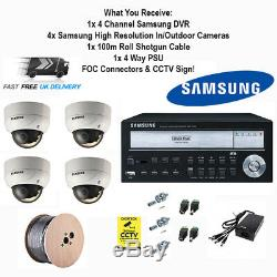 Samsung Home Shop Business Quality CCTV Security Package Cameras DVR Cable Kit