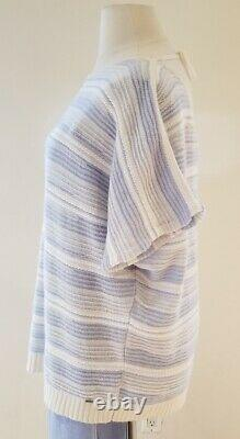 St. John White & Chambray Sweater & Blue Santana Pant Outfit Size XL/14 NWT