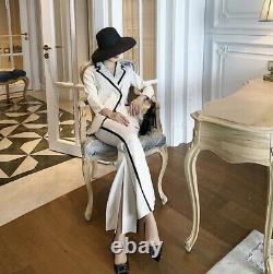 Super chic tailored black white blazer jacket trousers pants suit set outfit