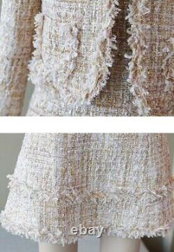 Tweed beige white plaid fringed sheath dress blazer jacket suit outfit set