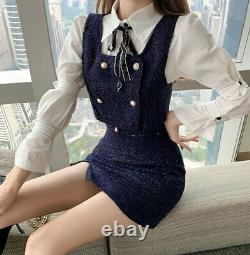 Tweed blue navy gold pearl skirt double waistcoat top jacket suit outfit set