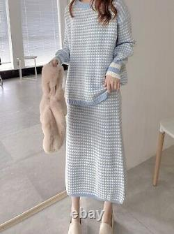 Tweed cashmere knitted sweater jumper skirt suit set outfit blue black beige